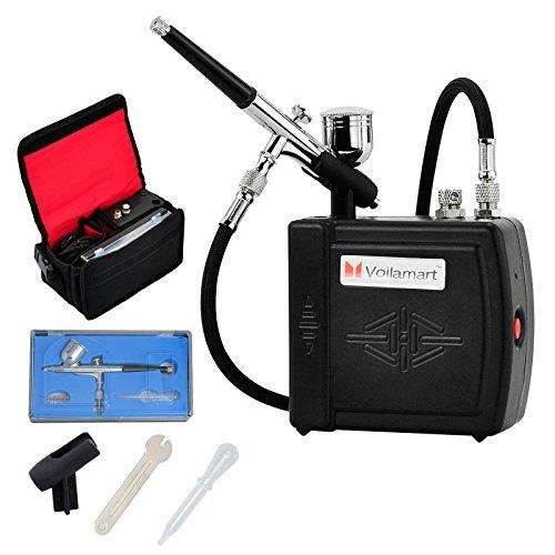 voilamart Mini compresseur 7cc 0,3mm Pistolet Aérographe Kit tuyau d'arrosage avec sac de transport pour gâteau Peinture Art