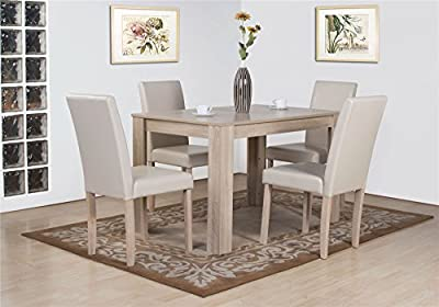 Dover White Oak Effect Wooden Dining Table and 4 High Back Chair Set - low-cost UK light shop.