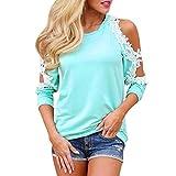 ❤️Damen Langarmshirt, ABsolute Frauen Hohlen weg von der Schulterfrei Lace Rundhals Langarm Bluse Damen Casual Tops Shirt Sweatshirts Pulli Hemd Blusen Streetwear (M, Juwel Blau)