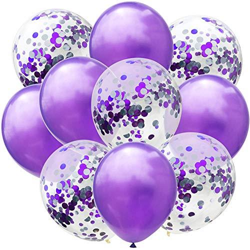 Doitsa 10 Stücke Luftballon 12 Zoll Zweifarbige Konfetti-Pailletten-Ballonkombination für Weihnachts Dekoration,Geburtstag,Hochzeit,Graduierung,Valentinstag Lila