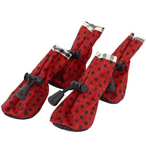 DealMux 4 Stück Gummisohle Herbst Nonslip Hund Boots-Schuhe, Größe 2, Rot -
