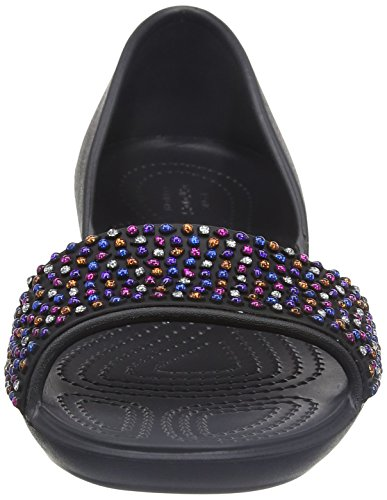 Crocs Crocslina Embellish Dorsayflat Blk/mlti, Ballerines femme Noir (Black/Multi)