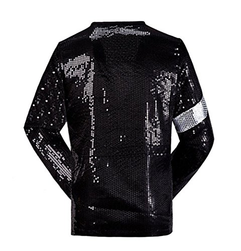 Jeans Jacke Kostüm - Shuanghao Michael Jackson Kostüm Jacke Hosen für Erwachsene Kind Billie Jean Jacke Tanz Cosplay Schwarz (W:35kg-40kg H:140-150cm, Kinderjacke)