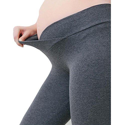 Highdas Pantalons de maternité pour femmes Leggings Pantalons basse taille Haute élasticité Gris foncé