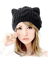 Bonnet, Koly Oreilles De Chat Chanvre Fleurs Bonnet Cute Girl Femmes Cap Laine Bonnet De Coton