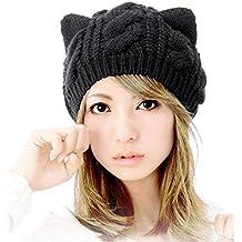 Bonnet, Koly Oreilles De Chat Chanvre Fleurs Bonnet Cute Girl Femmes Cap  Laine Bonnet De
