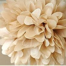 cmoo6y 10unidades papel de seda pompones de bolas de flores para fiesta boda casa decoración (oro)