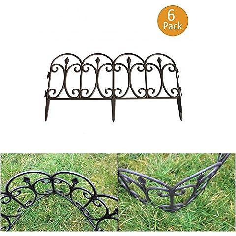 Valla de jardín negro–plástico PVC borde del césped (Pack de 6)