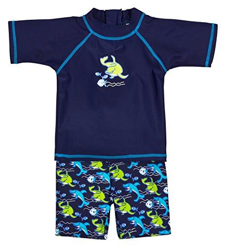 Landora® Baby- / Kleinkinder-Badebekleidung 2er Set mit UV-Schutz 50+ und Oeko-Tex 100 Zertifizierung in blau; Größe 86/92 -