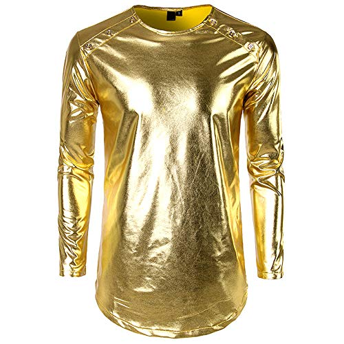 EUZeo Herren Mode T-Shirt mit hellem Leder Gesicht Casual Lackleder Vorne Doppelbluse Pullover Mode Pulli Tops Bluse Einfarbig Trainingsanzug Sweatshirt
