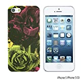 OBiDi - Flower Pattern Hardback Case / Housse pour Apple iPhone SE / Apple iPhone 5S / 5 - Green and Red Rose