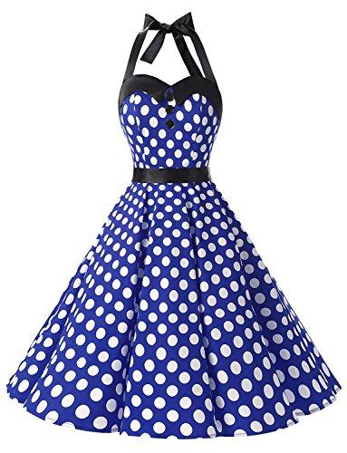 Dressystar DS1957 Robe de Bal Polka Vintage pin-up à 'Audrey Hepburn' 50's 60's Rockabilly Halter,Dos Nu, Bleu Saphir à Pois Blanc L