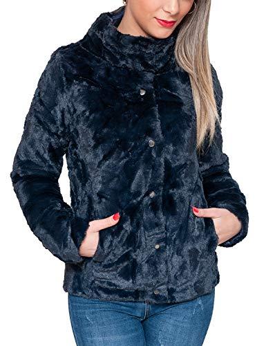 Evoga pelliccia piumino donna invernale giacca elegante (xxl, navy)
