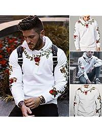 Hombre sudadera hoodie casual invierno otoño,Sonnena sudadera con capucha manga larga Bohemian flores bordado