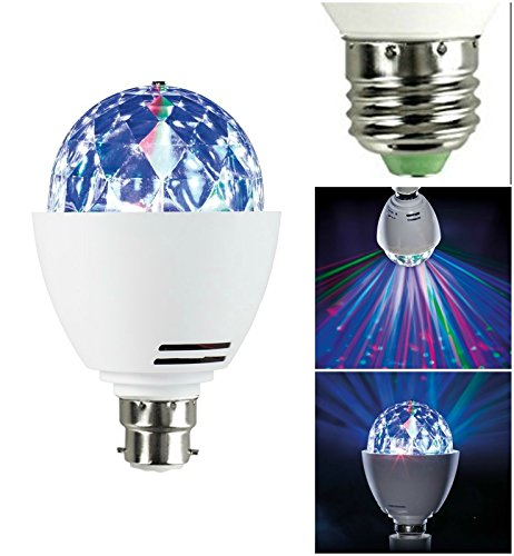 MSC LED B22 Disco Ball Light Rotating Multi-Coloured Light bulb Bayonet Fitting B22 Test