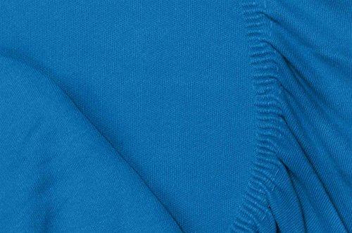 Double Jersey - Spannbettlaken 100% Baumwolle Jersey-Stretch bettlaken, Ultra Weich und Bügelfrei mit bis zu 30cm Stehghöhe, 160x200x30 Cobalt - 7