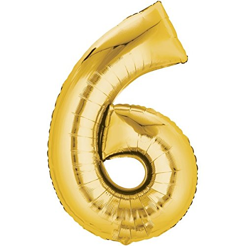Folienballon - Zahl 6 Gold - XXL 86cm, Zahlen Luftballon + Geschenkkarte + Helium & Ballongas geeignet. Luftballondeko zum Geburtstag oder Jubiläum. Lustiger Geburtstagsgeschenk Ballon