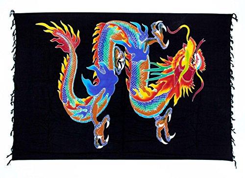 Sarong ca. 170cm x 110cm Handbemalt inkl. Sarongschnalle im Schmetterling Design - Viele exotische Farben und Muster zur Auswahl - Pareo Dhoti Lunghi Drache Schwarz Blau Bunt