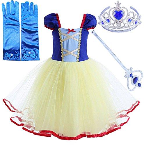 Das beste Mädchen kurzarm Prinzessin Kleid Schneewittchen Puffärmel Musselin Falten Kostüme Halloween Cosplay (90, Blau (Kostüme Halloween Jahre 90er Beste)