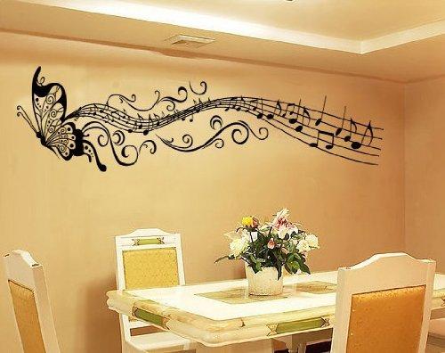 Blansdi PVC nero Animale Farfalla Musical Note murale decelerazione Wall Sticker 35X160cm - Wall Sticker