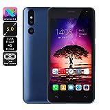 bescita Günstiges Smartphone Android 6.0 4G ROM(32GB Erweiterbar) Dual SIM Handy 5.0 Zoll, Doppel Kameras Quick Charge IPS-Bildschirm GSM/WCDMA-Touchscreen WiFi Bluetooth GPS Handy (Blue)