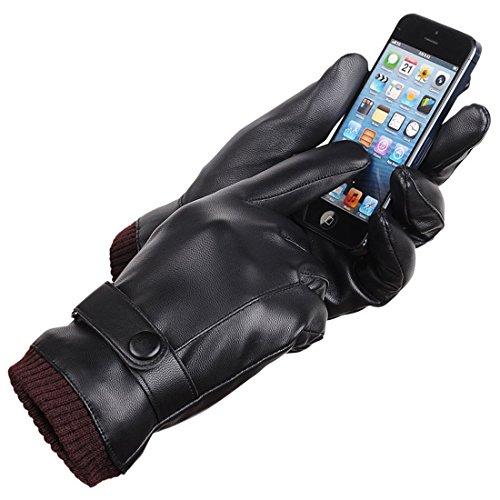LAOWWO Guantes de cuero de la PU para hombre Guantes de pantalla táctil Guantes de conducción Guantes de invierno negro cálido con forro de gamuza larga