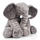 smartpillow. XXL Elefant Kuscheltier I 60cm Plüschtier Groß Grau Geschenk für Babys Kinder Kissen Baby Stofftier