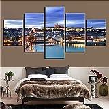 hllhpc Pinturas sobre Lienzo Arte De La Pared Obra 5 Piezas Castillo De Praga Bridge Poster Impresiones HD Ciudad Escena Nocturna Fotos Salón Decoración