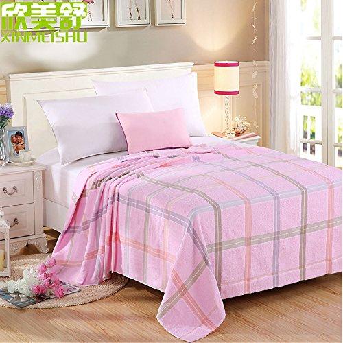 CLG-FLY I bambini gli asciugamani erano spesse coperte coperte per bambini in adulto aria condizionata nel tappeto sonnecchiare tappeto primavera estate e autunno,Quadrati rosa,(Double) 180 * 220