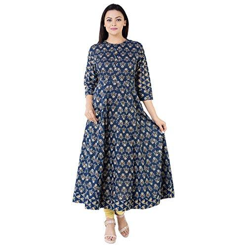Khushal Women's Cotton Back Cut Anarkali Blue Kurtas (Kk-02_Xxx-Large)