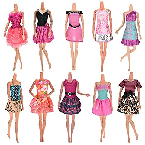 CoscosX 10Pieces Dresses for Barbie Doll, Fashion Party Dresses Clothes Gown For Barbie Dolls Girls