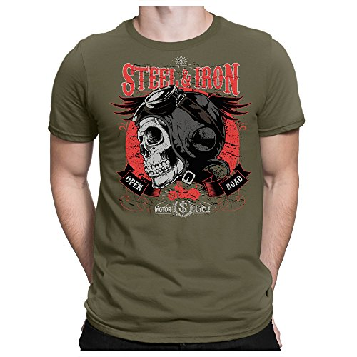 PAPAYANA - Street-Iron - Herren T-Shirt - Road Motor Cycle Hells Club, L, Oliv -