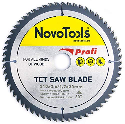 NOVOTOOLS Kreissägeblätter 250 x 30 mm x 60 Zähne zum Sägen in Holz für Handkreissägen. Profi Qualität