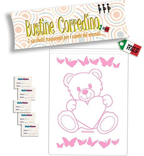 Bustine per il corredino del neonato sacchetti ospedale 5pz bimbobimba trasparento chiusura con cursore (rosa)