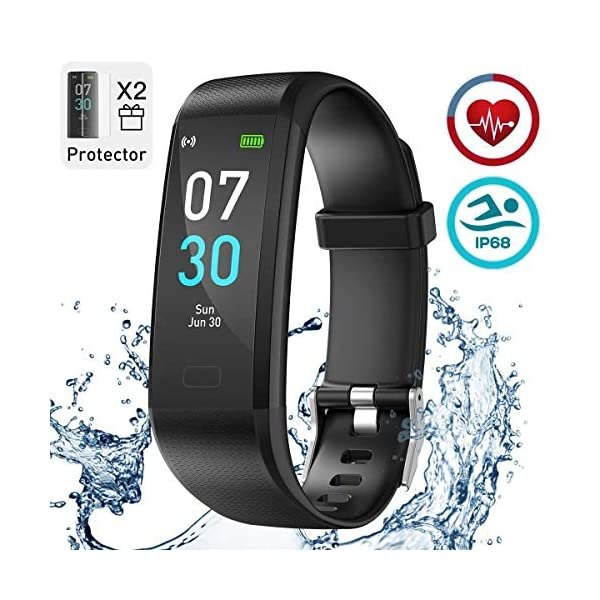 iWalker Smart Pulsera Fitness Tracker, Pulsera Actividad de Frecuencia Cardíaca, Impermeable IP68, Podómetro Deportiva… 2