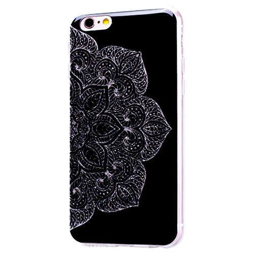 WE LOVE CASE Coque iPhone 6 Souple Gel Coque iPhone 6S Silicone Paillette Glitter Brillant Motif Fine Coque Girly Resistante Coque de Protection Bumper Coque Apple iPhone 6 iPhone 6S demi-fleur noire