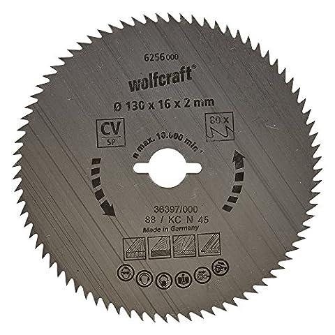 Wolfcraft 6256000 130 x 16 x 2mm CV Circular Saw Blade with 80 Teeth - Blue Series