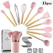 11 Pieces Kitchen Utensils Set Silicone Cooking Utensils - Heat Resistant Kitchen Tools Wooden Handle Spoons K