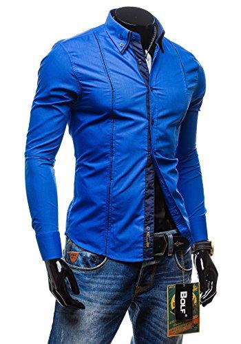 BOLF - Camicia casual �?BOLF 4744 - Uomo Cobalt