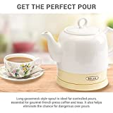 Bella Kettles - Electric Ceramic Cordless White Kettle Teapot - Retro 1.2L Jug, 1750W Boils Water Fast for Tea, Coffee, Soup, Oatmeal - Removable Base, Boil Dry Protection – Cream