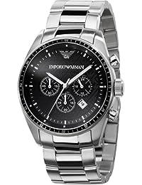 Emporio Armani Sport Collection AR0585 - Reloj cronógrafo de cuarzo para hombre, correa de acero inoxidable color plateado (cronómetro)
