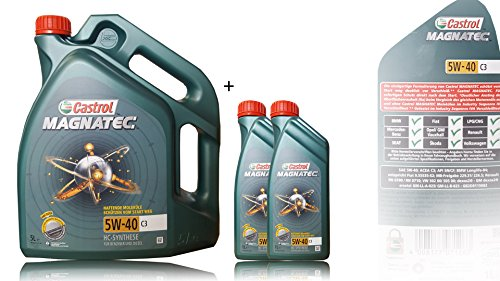 2x 1 L + 5 L = 7 Liter Castrol Magnatec 5W-40 C3 Motoröl inkl. Castrol Ölwechselanhänger