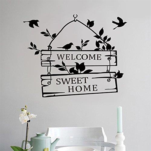 elden Schlafzimmer Wohnzimmer Tür Vögel Fenster Willkommen Sagen Zitat Wort Schrift Art Vinyl Sticker Aufkleber Home Decor Worte ()
