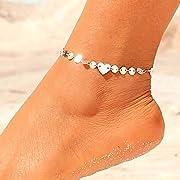 aaaefa83d471a6 Jovono Boemia semplice bracciali cavigliere Paillettes a forma di cuore cavigliera  catena piede catena per donne e ragazze (argento)