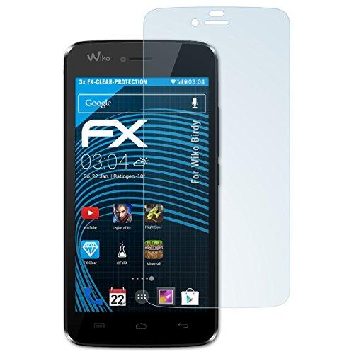 atFolix Schutzfolie kompatibel mit Wiko Birdy Folie, ultraklare FX Bildschirmschutzfolie (3X)