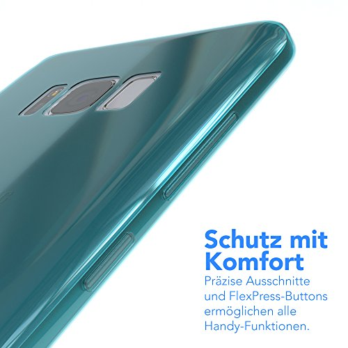 "EAZY CASE Handyhülle für Samsung Galaxy S8 Plus Hülle - Premium Handy Schutzhülle Slimcover ""Brushed"" Aluminium Design - TPU Silikon Backcover in brushed Lila Light Blue - Clear"