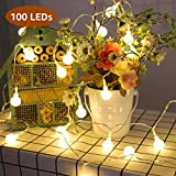 LE Lighting EVER Guirlande Lumineuse LED 10m, 100 Boules, Lumière Blanc Chaud, 8 Modes, pour Décoration Intérieure, Chambre, Terrasse, Noël, Fête, etc....