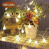 LE 100 LED Cadena de Luces Blanco Cálido Guirnalda de Luces Impermeable 10m 8 Modos Decorativas, Guirnaldas Luminosas para Exterior, Interior, Jardines, Casas, Boda, Fiesta de Navidad