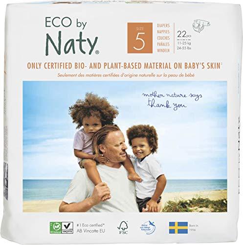 Naty By Nature Babycare Pannolini -Taglia 5, (11-25 kg), 6 confezioni da22 [132 Pannolini]