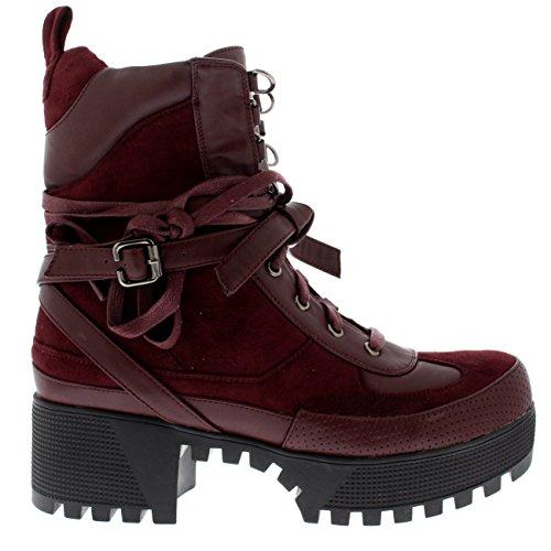 Bloco Bordeaux Boots Salto Rendas Acolchoado Único Ankle Senhoras wfOXFvqO